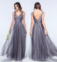 Neue entworfene Tulle Bridesmaids Kleider für den Sommer Hochzeiten A-Linie mit V-Ausschnitt Bohemian faltet Guest Kleider Spitze Abendkleider