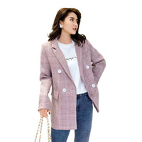 PEONFLY 2019 New Classic Pink Plaid Women Blazers Casual Not...