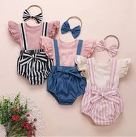 Baby-Kleidung-Kind-Fest-T-Shirt Straps Shorts Bowknotstirnband Kleidung Sets Sommer Fly Sleeve Top Striped Hair Anzug PY619