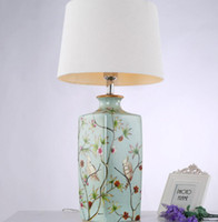Lâmpadas de mesa Lâmpadas LED Table Art Deco Modern base de cerâmica e Lâmpadas Cotton Sombra para Bedroom Decor