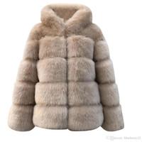 Más la capa gruesa de abrigo las mujeres chaqueta de invierno cálido tamaño sólido imitación de las mujeres de visón invierno con capucha de la chaqueta de piel falsa de Nueva caliente