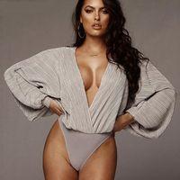 Tiefem V-Ausschnitt Patchwork Sexy Bodysuit Women Fashion Langarm Loose Women Strampler Herbst beiläufige Bodysuit-Overall