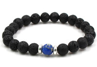 10 colores Natural Negro Lava Piedra Beads Pulsera Elástica Pulseras Pulseras Volcánicas Rock Beaded Hand Strings MOQ 50 PCS