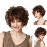 Joy&luck Short Culry Wig Brown Color Synthetic Wigs for Wome...