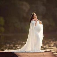 Chiffon Schal Kleid Mutterschaft Fotografie Requisiten Elegante Maxi Kleid Schwangerschaft Kleid Shoulderless Mutterschaft Kleider Für Foto Schießen