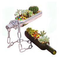Bouteille de vin de coupe créative en demi-jardinière Verre Terrarium Pot de fleur pour Succulent Cactus Air Plant Alcool Cadeaux