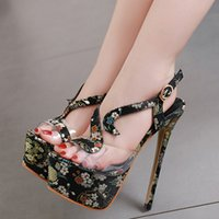 16cm Sexy black embroidery floral shoes luxury designer shoe...