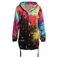 Hot Women Rainbow Graffiti Style Jacket Coat Impresión manga larga transpirable para otoño MSK66