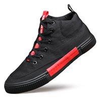 Bahar Yeni Yüksek üst Tuval Sneaker Ayakkabı Erkekler Basit Joker vulcanize Ayakkabı İngiliz Moda Tide Casual Ayakkabı M9168