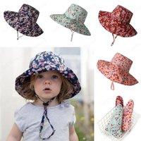 Ins bebé niños del sombrero de Sun Flower Casco Impreso Sunhats manera de los niños del salacot precioso Niño Niña sombrero del cubo de 4 colores