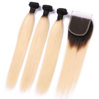 1B 613 paquetes de pelo recto brasileño con cierre Ombre negro y rubio 3 paquetes con cierre Remy armadura del pelo humano 8-24 pulgadas