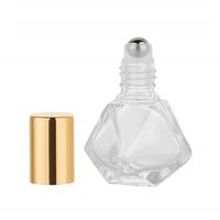 8ml Mini Portable Polygonal Clear Glass Roller Bottle Travel...