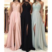 Neue Elegante Halfter Chiffon Lange Brautjungfer Kleider Spitze Applique Split Hochzeit Gastkleid Mädchen Mädchen Kleider Kleider