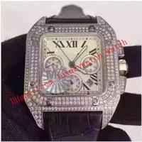 الفاخرة ووتش جديدة عالية الجودة التلقائي 7750 حركة الفضة الماس الزركون ماء البني حزام جلد أسود