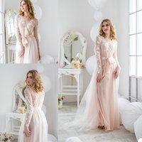2020 Novas Mulheres Sleepwear Lace Appliqued Lady Mulheres Bathrobe Pedido Negócio Blush Rosa Tule Robe Prom Prom Towel Shawel