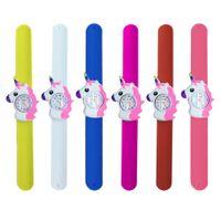 Unicorn 3D Cartoon Uhr Gummi Armbanduhr Kinder Slap Clap Silikonband Nette Jungen Mädchen Timer für Geschenk