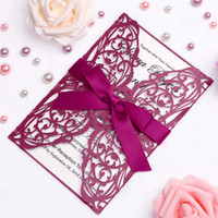2019 New Free Shipping 5*7 Wed Invitations Cards With Ribbon...