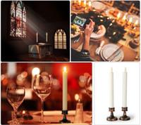 LED cónica mira al trasluz electrónico bandeja Candelabro con soporte de luz de las velas de la boda Restaurante Cena vela decorativa de Rod no Cera