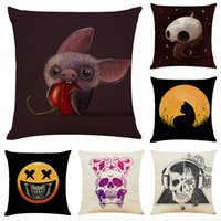 Halloween Ghost Linen Cushion Covers Home Office Sofa Square...