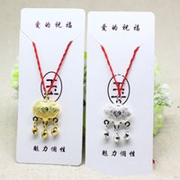 120pcs ethnic style necklace long life lock red rope necklace fugui lock safe lock necklace gold and silver two-color optional free delivery