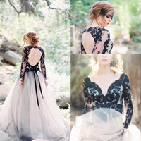 Gothic White And Black Long Sleeves Lace Boho Wedding Dresse...