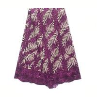 Vestido de tela africana del cordón de la tela púrpura magenta Material de tul de novia de encaje de Nigeria cordón suizo 2019 de la alta calidad para el partido