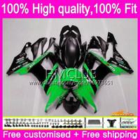 Body injection Pour KAWASAKI ZX 10 R ZX1000C ZX10R 08 09 10 66HM.16 ZX 10R 1000CC ZX1000 CC ZX10R 2008 2009 2010 OEM vert carénages noir