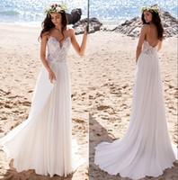 2020 Summer Beach Uno Spaghetti Abiti da sposa in chiffon linea cinghie pizzo Cheap Boho Abiti da sposa robe de mariee