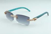 20 neues natürliches grünes Birkenholz Tempel Sonnenbrillen, 3.524.012 Luxus große Diamanten Sonnenbrille Größe: 56-18-135mm Sonnenbrille