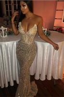 Sexy Bling Paillettes Abiti Da Sera Sweetheart Cristallo Mermaid Prom Dress Arabia Saudita Plus Size Pageant Gowns Vestdios de Novia