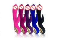 Vibradores de coelho Dupla Cabeça USB Recarregável G-Spot Vibrador 10 Velocidade Varinha Mágica Massageador Estimulador Clitóris Adulto Brinquedos Sexuais cores por DHL