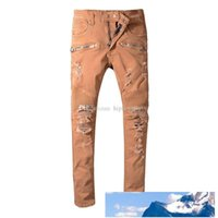 2019 New Mens Jeans Distressed Ripped Biker Jeans Slim Fit M...