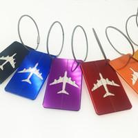 200 unids DHL 8 colores Etiqueta de equipaje de viaje de aleación de aluminio etiqueta de equipaje de metal en blanco a bordo Cubierta de plástico impermeable de la tarjeta
