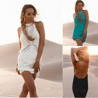and American knitted hanging neck and bare back beach vacati...