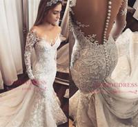 2019 Långärmade sjöjungfrun Lace Appliqued Bröllopsklänningar Vintage Arabisk Dubai Plus Storlek Boho Bridal Gown BC1509