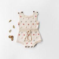 Niño bebé chicas mamelucas muellos insumos infantiles lunares lunares tejer jacquard chaleco mono jumpsuit niños suéter Body Bebies Bebeise 0-2T