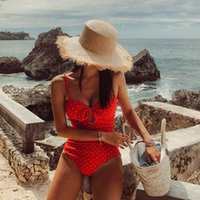 KEKAKA Vintage Red Dot Bow Knot Tie One Piece Swimsuit 2020 ...
