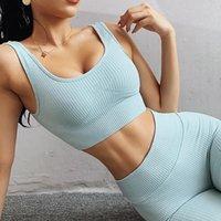 2 adet / takım Dikişsiz Fitness Kadın Yoga Takım Elbise Yüksek Sıkı Egzersiz Spor Seti Yastıklı Spor Sutyen Yüksek Bel Spor Legging Spor Salonu S-L