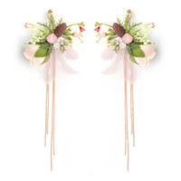 Böhmische Manuelle Stoff Blume Pailletten Fringe Ohrring Acryl Perlen Quaste Lange Ohrringe Für Frauen Hochzeit Schmuck JCC102