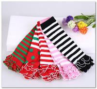 Weihnachtsbaby-Baumwollbeinwärmer Mode Mädchen abgestuftes Rüsche Prinzessin Beine Wärmer Weihnachten Junge Kinder Streifen gestrickt kneepad J0835 Socken