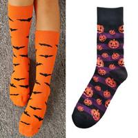 Cadılar bayramı Pamuk Çorap Moda Kabak Yarasa Baskılı Çorap Orta Tüp Çorap Adam Kadın Için Yetişkin Ter emici Nefes Çorap