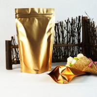 Sostieni la borsa a chiusura lampo in alluminio opaco oro, 19x29cm 100 pezzi riutilizzabili in polvere per latte in polvere con chiusura a cerniera, sacchetti di plastica, Doypack Farina