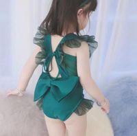 5 adet / grup Kızlar Mayo Çocuk Yüzmek Giyim Prenses Fırfır Yay Yeşil Yüzmek Set 2-7 T Sylvia 591453193478
