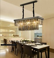 Kare Retro Siyah Amerikan Kristal Kolye Işık Siyah Avize Yemek Odası Restoran Otel Odası Çalışma Odası Oturma Odası LED E14 Ampüller Lambaları