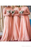 2020 겸손한 긴 소매 쉬폰 무슬림 신부 들러리 드레스 플러스 사이즈 명예 웨딩 게스트 드레스 BM1910의 레이스 셔링 롱 메이드