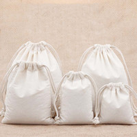7x9 9x12 10x15 13x18 15x20cm bolsa de cordón de algodón Pequeña pulsera de muselina Regalos Bolsas de embalaje de joyería Bolsa de regalo de lazo lindo Bolsas