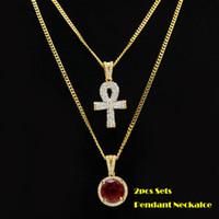 2pcs ensembles pendentif noir / rouge / bleu mini rondes pierres précieuses grand strass clé cubaine chaîne deux collier hommes femmes hip hop bijoux 2 colliers