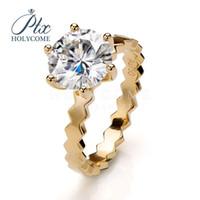 14 Karat Gold Band gewellten Ring Hochwertige Phantasie winzige D weißen Moissanite Diamantring für die Verlobung Hochzeitszeremonie