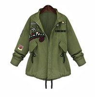 2016 Hot Sale Outono Inverno Mulheres Jaqueta Tops de Manga Longa Fino Turn-Down Collar Exército Verde Outwear Mulheres