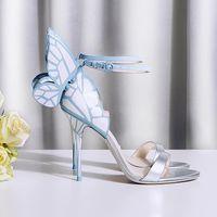 الصنادل الجناح الكاحل للنساء صوفيا ويبستر الفراشة الكعوب العالية أحذية أحذية جلدية حقيقية الزفاف